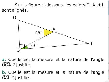 Calcul de la mesure d'un angle : exercices en 6ème.