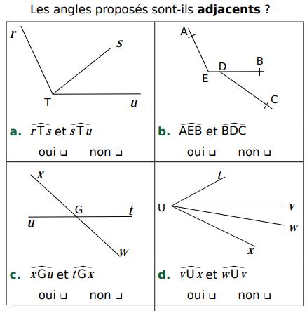 Les angles adjacents : exercices en 5ème.