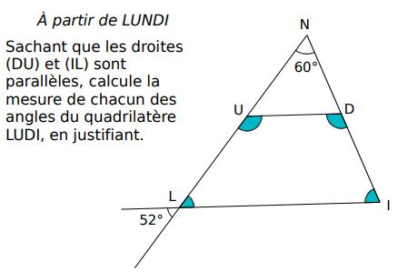 Angles d'un quadrilatère : exercices en 5ème.