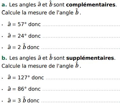 Angles complémentaires ou supplémentaires : exercices en 5ème.