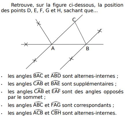 Retrouver la position des points : exercices en 5ème.