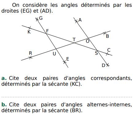 Angles correspondants et angles alternes-internes : exercices en 5ème.