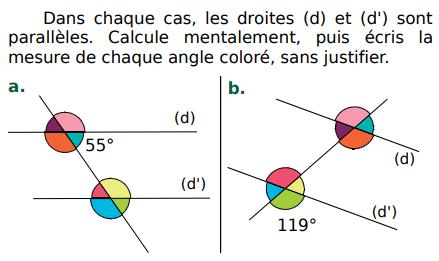 Calculer mentalement la mesure d'un angle : exercices en 5ème.