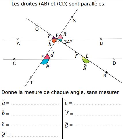 Donner la mesure d'un angle : exercices en 5ème.