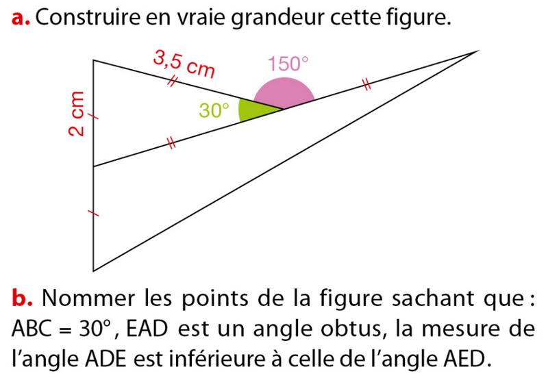Constuire la figure et nommer les points : exercices en 6ème.