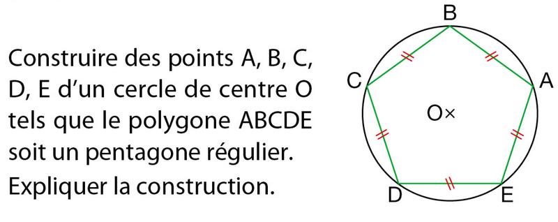 Construire un pentagone régulier : exercices en 6ème.