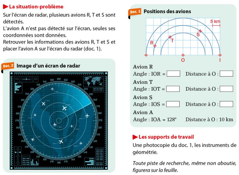 Problème avec un écran radar : exercices en 6ème.