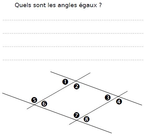 Quels sont les angles égaux ? : exercices en CM2.