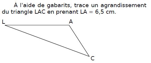 Tracer un agrandissement d'un triangle : exercices en CM2.