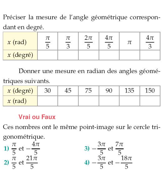 Mesure d'un angle géométrique : exercices en 1ère S.