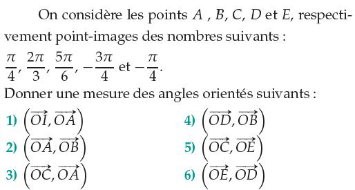 Donner la mesure des angles orientés : exercices en 1ère S.