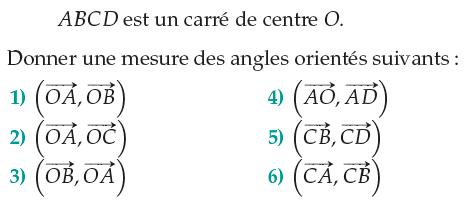 Angles orientés dans un carré : exercices en 1ère S.