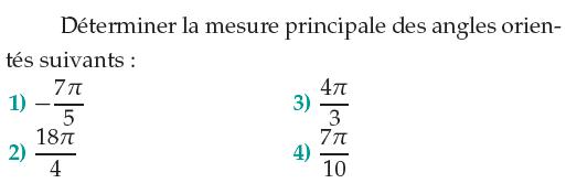 Mesure principale d'un angle orienté² : exercices en 1ère S.