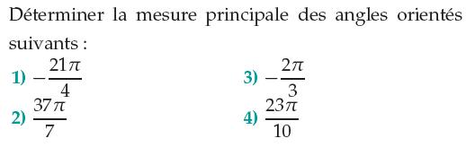 Mesure principale d'un angle  : exercices en 1ère S.