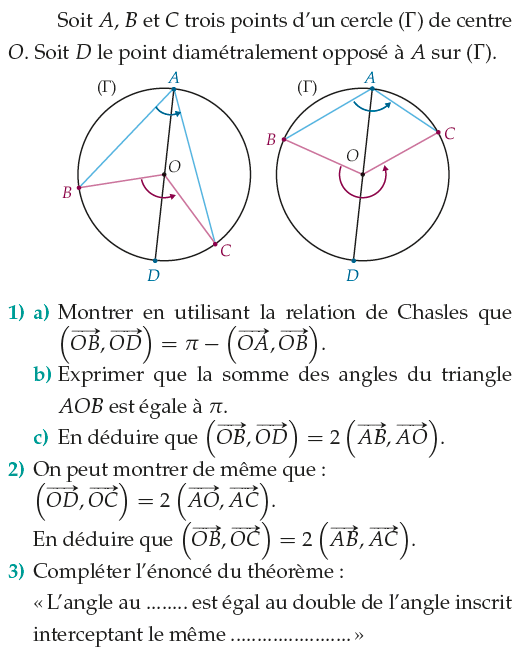 Relation de Chasles et somme des angles d'un triangle : exercices en 1ère S.