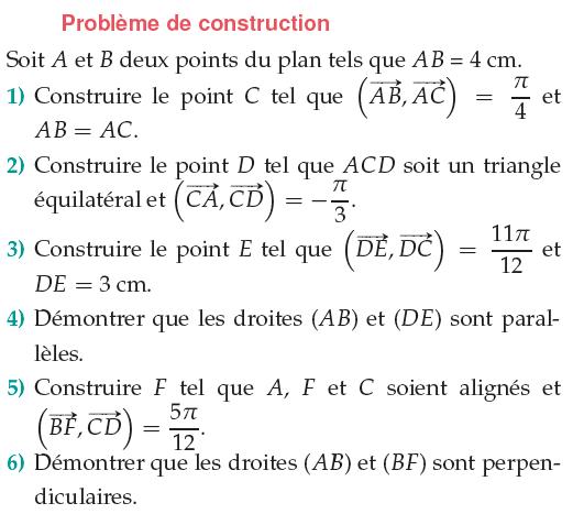 Construire des point avec des angles orientés : exercices en 1ère S.