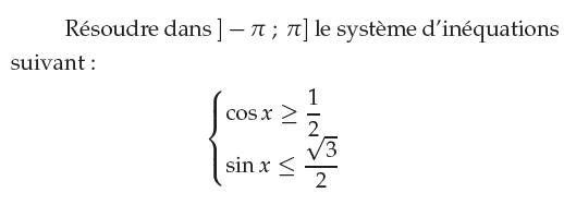 Résoudre un système d'inéquations : exercices en 1ère S.