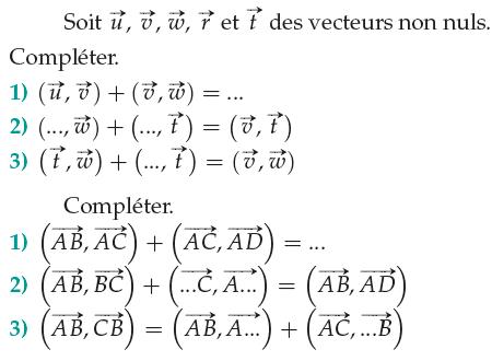 Relations de Chasles et vecteurs : exercices en 1ère S.