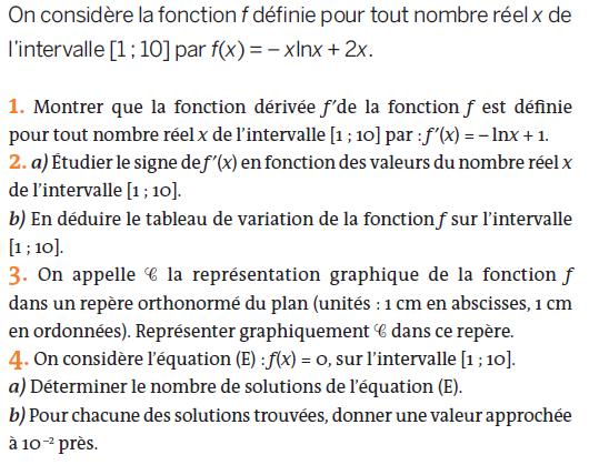 Tableau de variation et équation : exercices en terminale S.