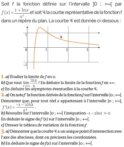 Une étude de limite et variations d'une fonction : exercices en terminale S.