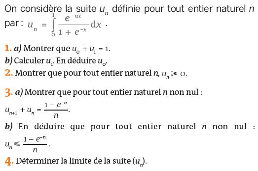 Intégrale d'une fonction et exponentielle : exercices en terminale S.