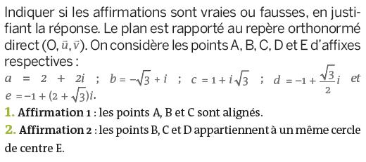 Représentation géométrique d'un nombre complexe : exercices en terminale S.