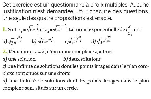 Forme exponentielle d'un nombre complexe : exercices en terminale S.