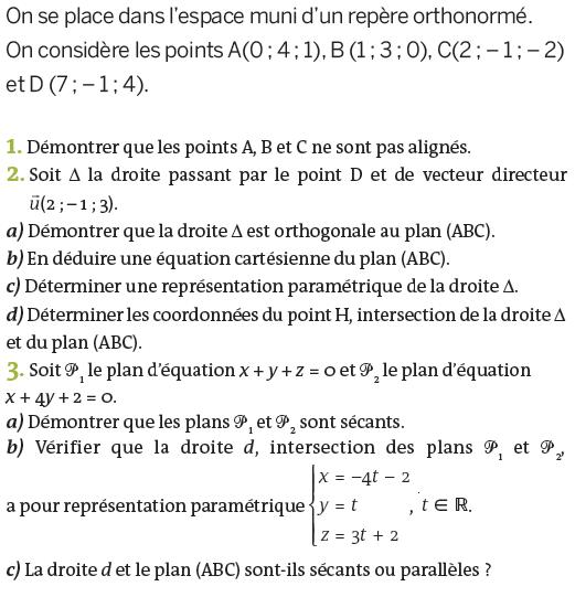 Droites et équation d'un plan : exercices en terminale S.