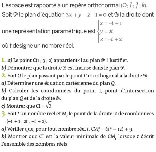 Représentation paramétrique d'un plan : exercices en terminale S.