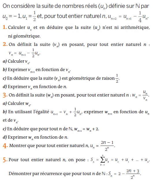 Suites récurrentes : exercices en terminale S.