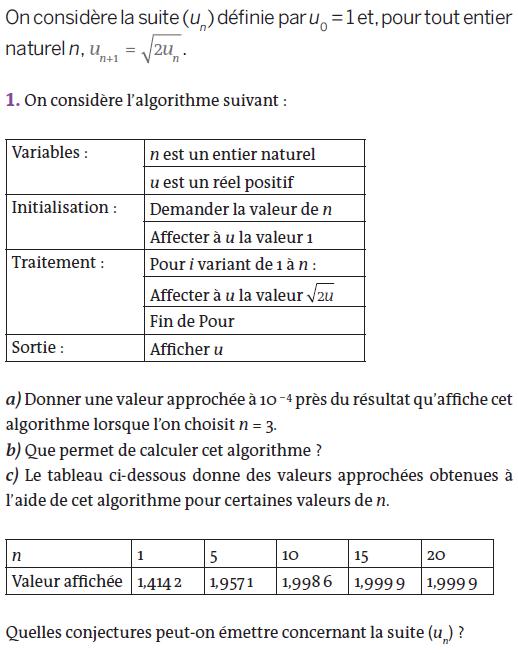 Algorithme et suites numériques : exercices en terminale S.