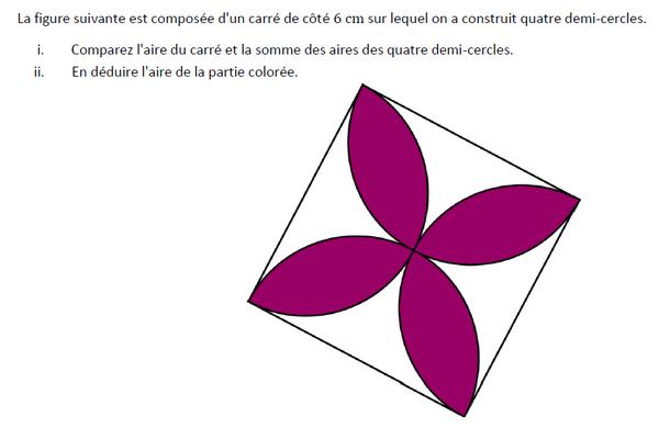 Aire de la partie coloriée : exercices en 5ème.