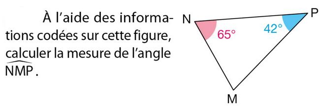 Calculer la mesure de l'angle : exercices en 5ème.
