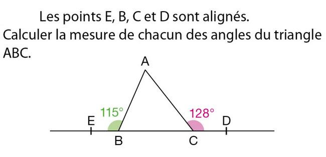 Mesure des angles d'un triangle : exercices en 5ème.