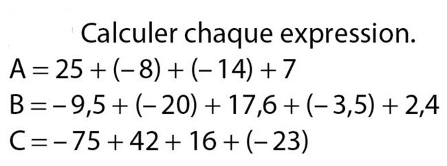 Calculer les expressions : exercices en 5ème.