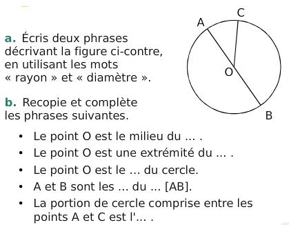 Vocabulaire du cercle : exercices en 6ème.