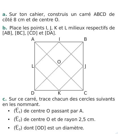 A partir d'un carré : exercices en 6ème.