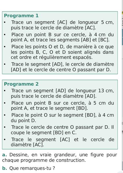 Programmes de construction distincts : exercices en 6ème.