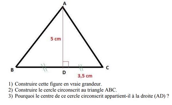 Cercle circonscrit à un triangle : exercices en 5ème.