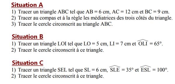 Construction du cercle circonscrit à un triangle : exercices en 5ème.