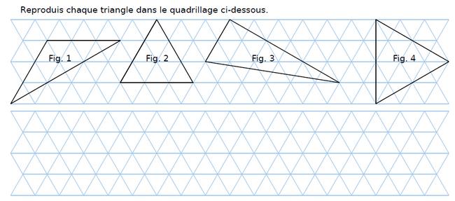 Reproduire chaque triangle : exercices en CM2.