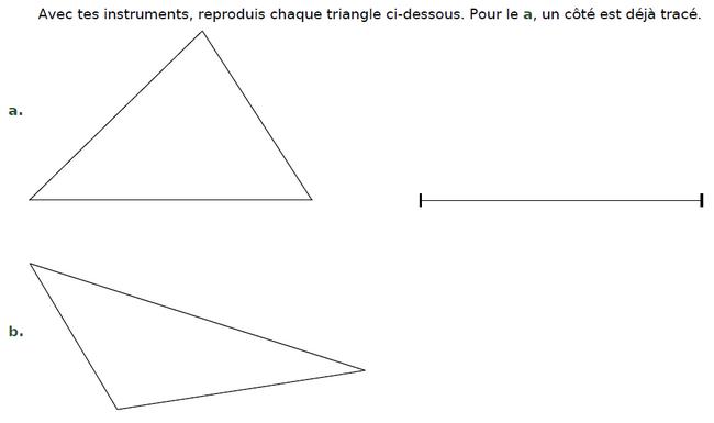 Reproduire chaque triangle avec le matériel de géométrie : exercices en CM2.