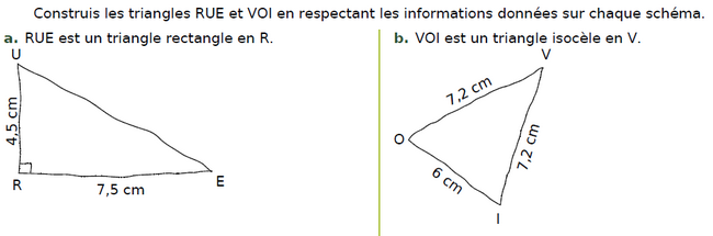 Construire ces triangles : exercices en CM2.