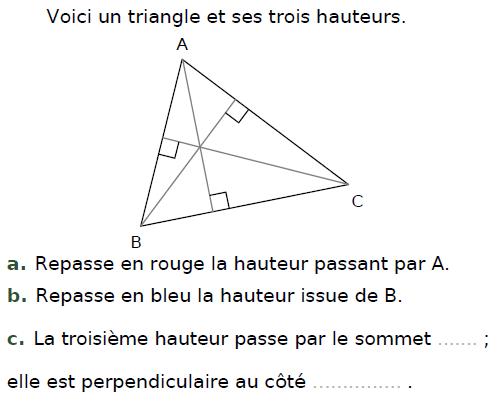Hauteurs d'un triangle : exercices en CM2.