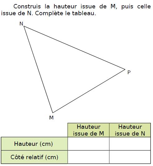 Construire la hauteur d'un triangle : exercices en CM2.