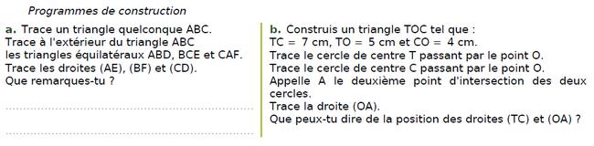 Des programmes de construction : exercices en CM2.