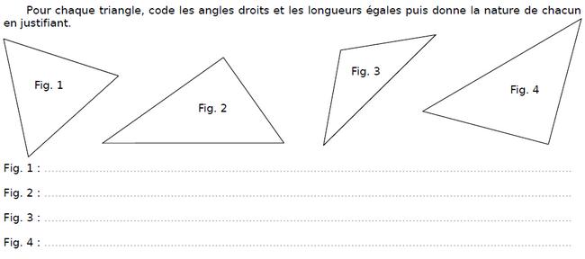 Coder l'angle droit d'un triangle : exercices en CM2.
