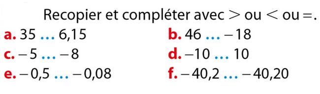 Comparaison de nombres relatifs : exercices en 5ème.