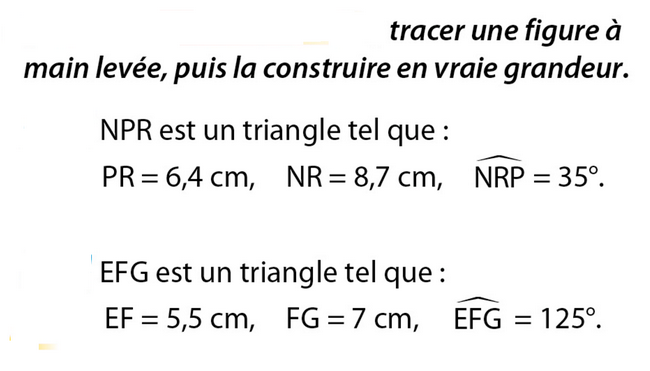 Constructions de triangles : exercices en 5ème.