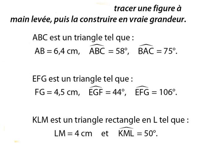 Construire des triangles : exercices en 5ème.